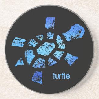 Práctico de costa de la tortuga del agua azul posavaso para bebida