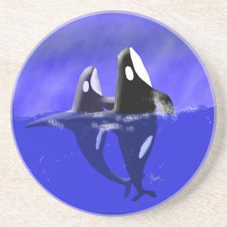 Práctico de costa de las ballenas de la orca de la posavasos cerveza