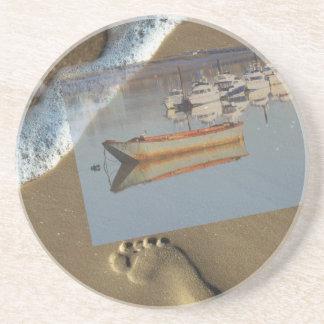Práctico de costa de las huellas de la arena posavasos personalizados