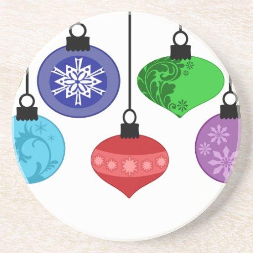 Práctico de costa de los ornamentos del navidad posavasos personalizados