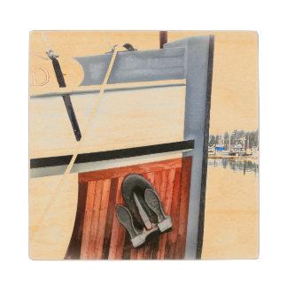 Práctico de costa de madera de arco del yate posavasos de arce