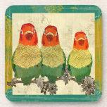 Práctico de costa de oro del corcho de los pájaros posavasos de bebidas