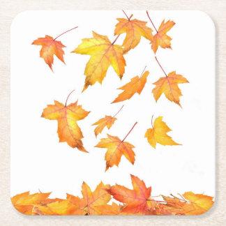 Práctico de costa de papel del follaje el caer posavasos personalizable cuadrado