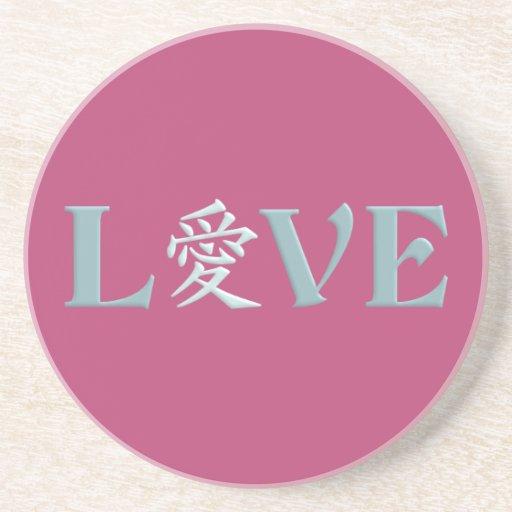 Práctico de costa del amor del kanji posavasos personalizados
