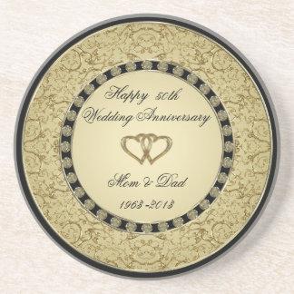 Práctico de costa del aniversario de boda de oro posavasos personalizados