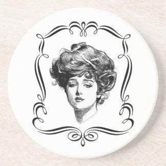 Práctico de costa del arte del vintage del chica d posavasos manualidades