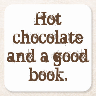 """Práctico de costa del """"chocolate caliente y de un posavasos de cartón cuadrado"""