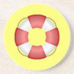 Práctico de costa del conservante de vida (amarill posavasos personalizados