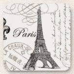 Práctico de costa del corcho de París del vintage… Posavasos De Bebidas