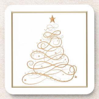 Práctico de costa del corcho del árbol de navidad posavasos de bebidas