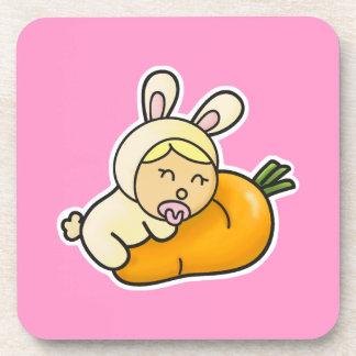 Práctico de costa del corcho del conejo del bebé posavaso