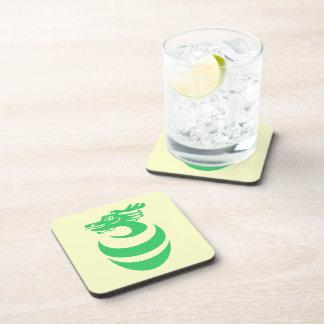 Práctico de costa del corcho del dragón verde posavasos de bebida