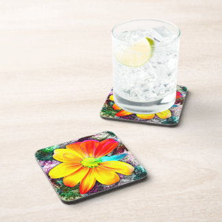 Práctico de costa del corcho del girasol posavasos de bebida