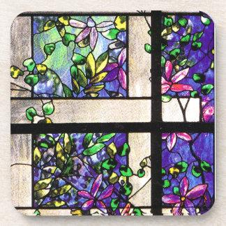 Práctico de costa del corcho del vitral de Tiffany Portavasos
