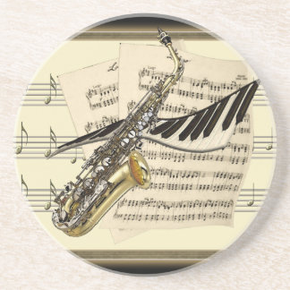Práctico de costa del diseño del saxofón y de la m posavaso para bebida