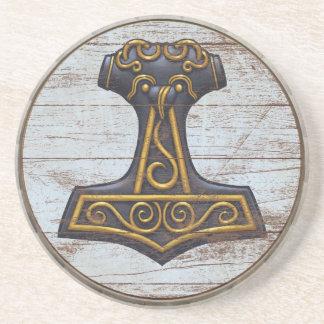 Práctico de costa del escudo de Viking - Mjolnir Posavasos Cerveza