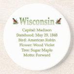 Práctico de costa del estado Info de Wisconsin Posavasos Cerveza