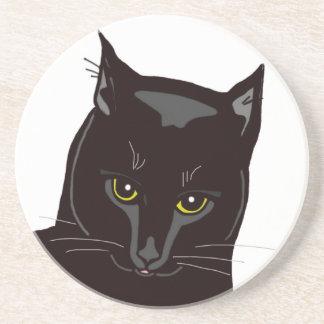 Práctico de costa del gato negro posavasos diseño