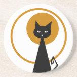 Práctico de costa del gato negro posavasos para bebidas