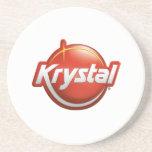 Práctico de costa del logotipo de Krystal en blanc Posavasos Personalizados