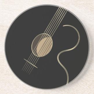 Práctico de costa del logotipo de la guitarra acús posavaso para bebida