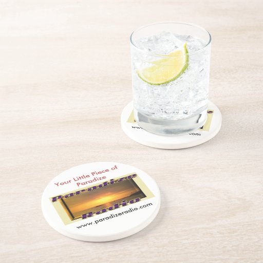 Práctico de costa del logotipo de ParadizeRadio Posavasos Para Bebidas