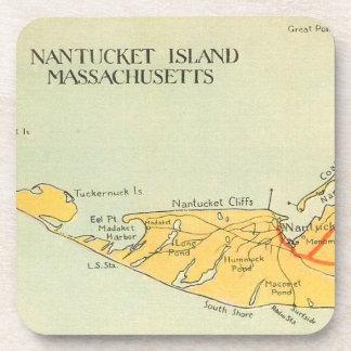 Práctico de costa del mapa de Nantucket del vintag Posavaso