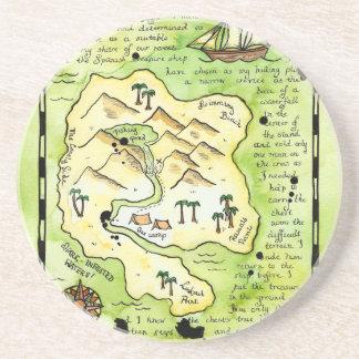Práctico de costa del mapa del tesoro de la isla d posavasos para bebidas