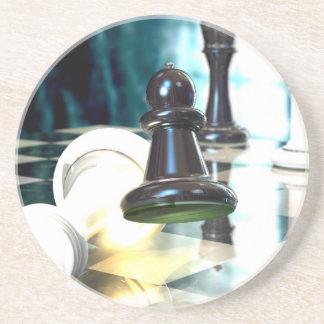 Práctico de costa del movimiento de ajedrez posavasos cerveza