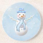 Práctico de costa del muñeco de nieve del navidad posavasos personalizados