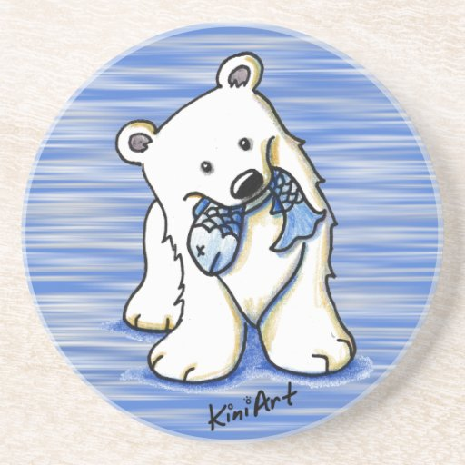 Práctico de costa del oso polar posavasos diseño