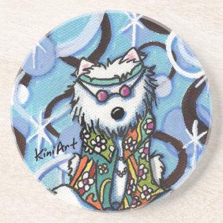 Práctico de costa del perro de Westie del Hippie Posavaso Para Bebida