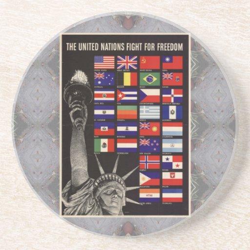 Práctico de costa del poster del vintage de WWII Posavasos De Arenisca