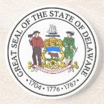 Práctico de costa del sello del estado de Delaware Posavasos Personalizados