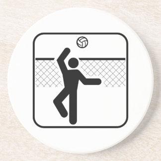 Práctico de costa del símbolo del voleibol posavaso para bebida