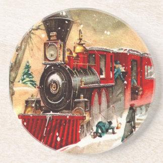 Práctico de costa del tren del navidad del vintage posavasos para bebidas