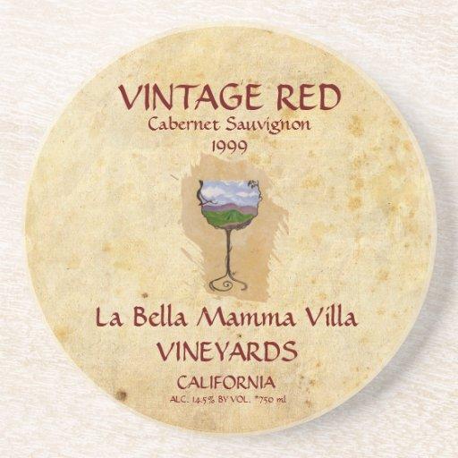 ¡Práctico de costa del vino rojo del vintage! Posavasos Para Bebidas