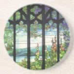 Práctico de costa del vintage del vitral de Nouvea Posavasos Diseño