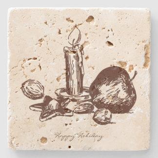 Práctico de costa dibujado mano del travertino de posavasos de piedra