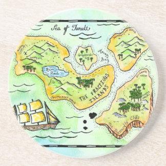 Práctico de costa díscolo del mapa del tesoro de l posavasos personalizados