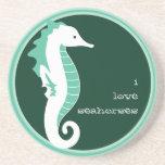 Práctico de costa divertido del Seahorse - verde Posavaso Para Bebida