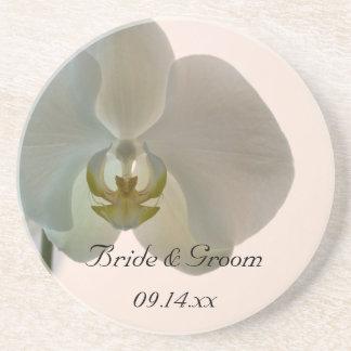 Práctico de costa elegante del boda de la orquídea posavasos para bebidas