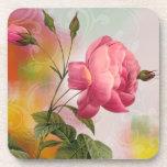 Práctico de costa elegante y romántico de los rosa posavaso