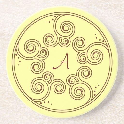 Práctico de costa encantador del monograma de los  posavasos de arenisca