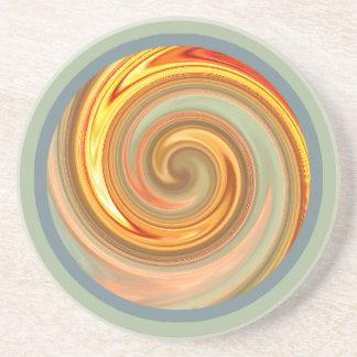Práctico de costa espiral del fractal de la puesta posavasos cerveza