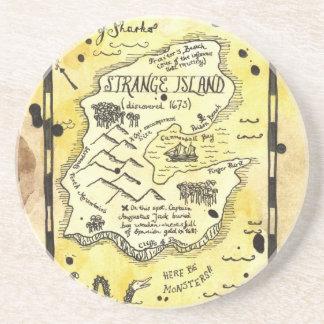 Práctico de costa extraño del mapa del tesoro de l posavasos personalizados