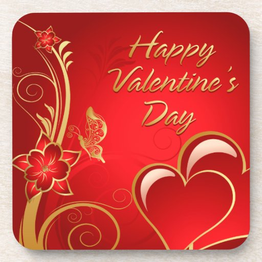 Práctico de costa feliz del el día de San Valentín Posavasos De Bebida