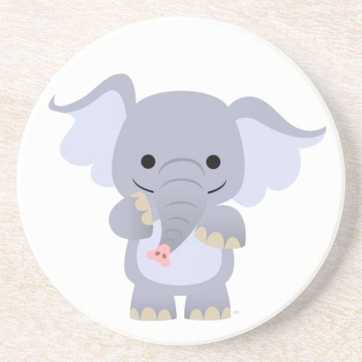 Práctico de costa feliz del elefante del dibujo an posavasos diseño