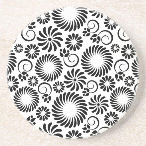Práctico de costa floral blanco y negro posavasos para bebidas