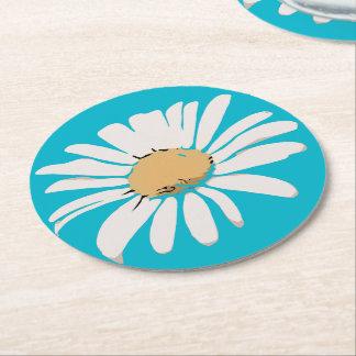Práctico de costa floral de la margarita de la posavasos de cartón redondo